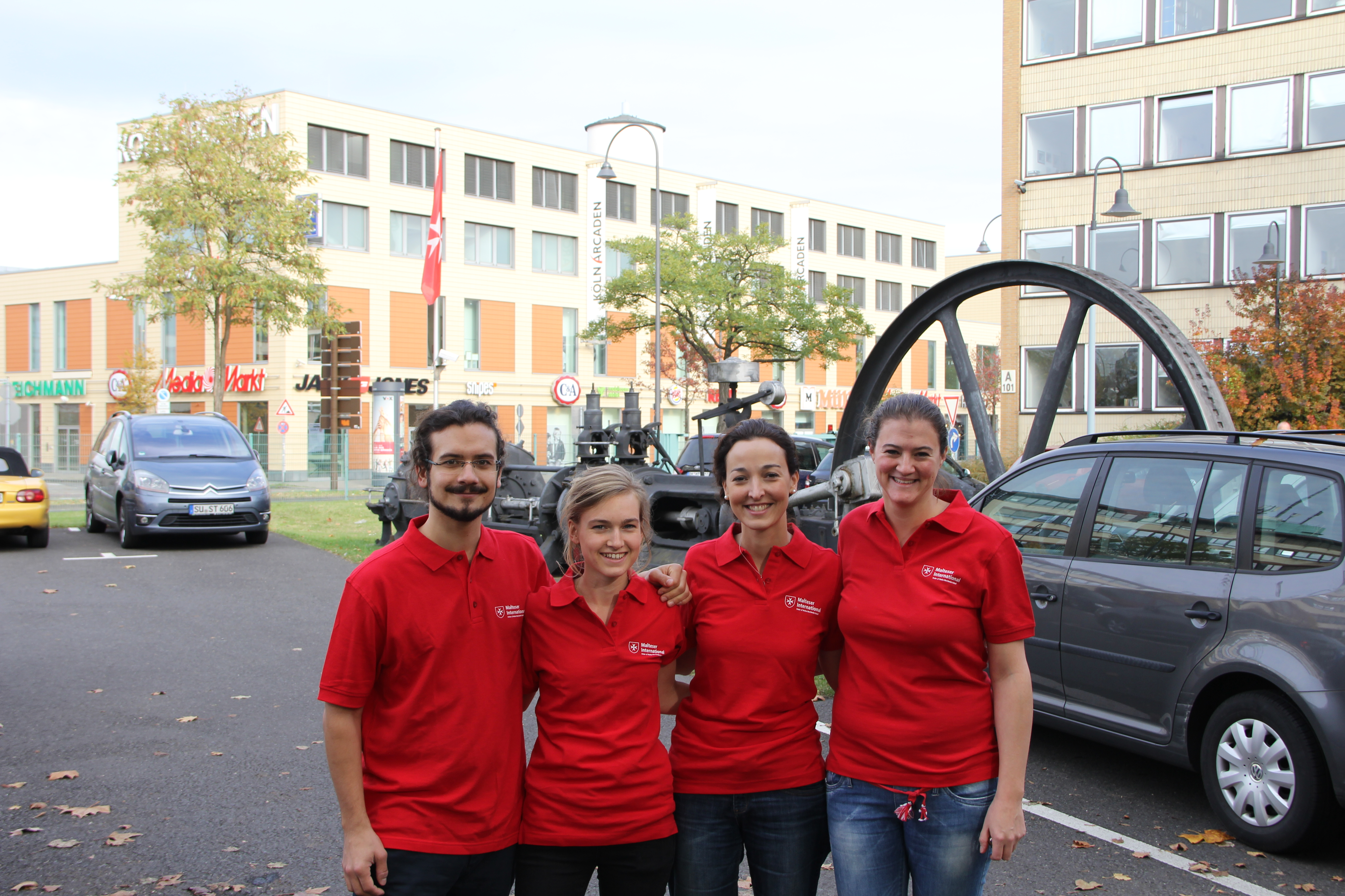 The team consists of a member from Spain, France, Germany, and Austria. Photo: Malteser InternationalThe team consists of a member from Spain, France, Germany, and Austria. Photo: Malteser International