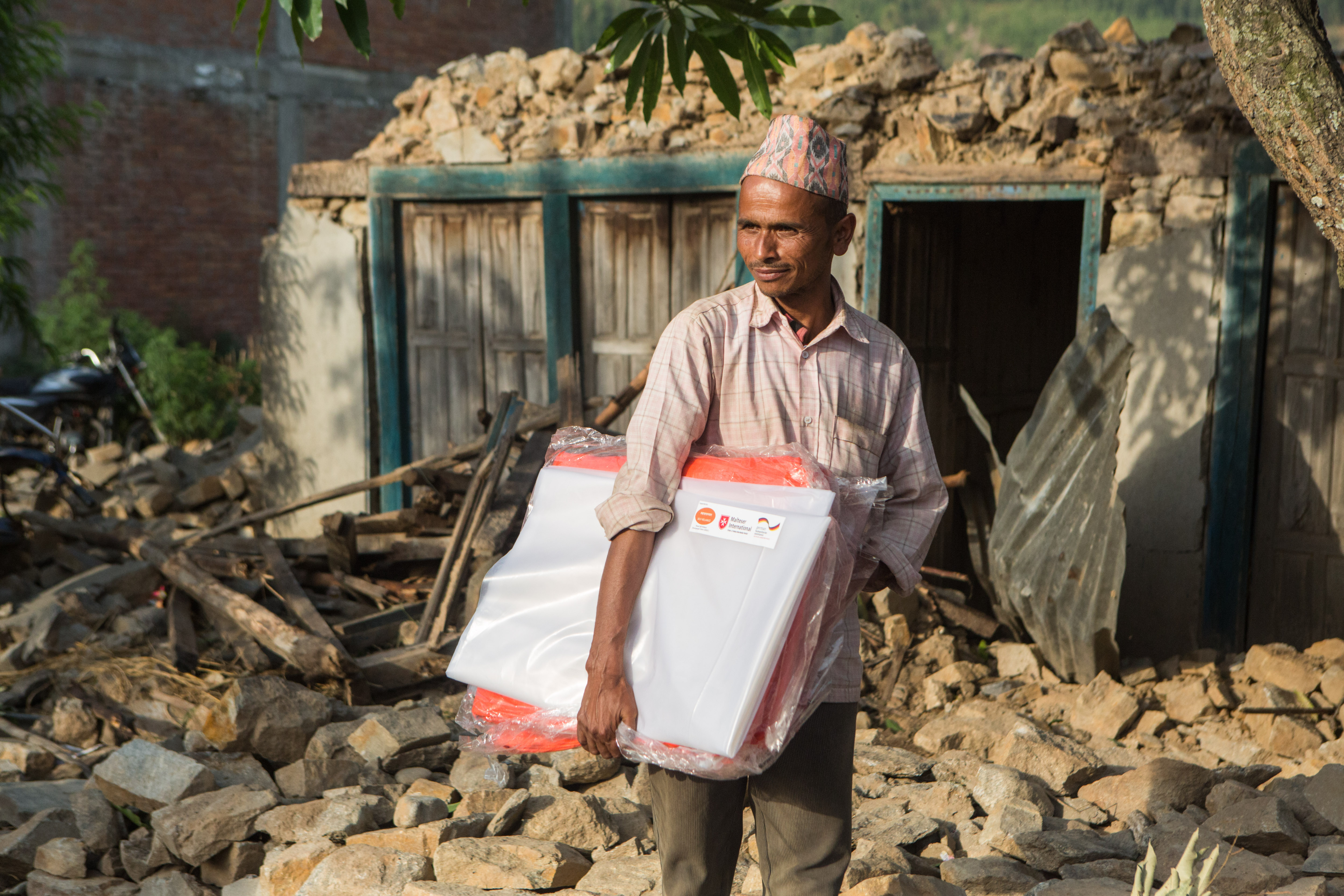 Malteser International provided vital aid materials to over 70,000 people following the earthquake. Credit: Jana Asenbrennerova