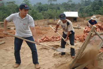 Construction work for latrines