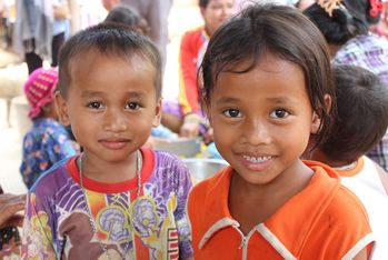 Portrait of two Cambodian village children
