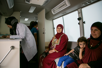 Patients at the mobile clinic also receive free medication.