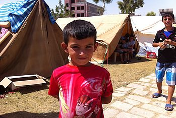 Among the internally displaced people in Erbil are many children.