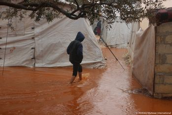 Flooding in camps for displaced people